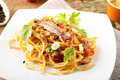Pasta with anchovies and tomatoes Royalty Free Stock Photo