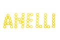 Pasta anelli word italian written with anellini over white background Royalty Free Stock Photos