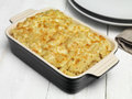 Pasta bake cheese on dinner table Royalty Free Stock Image