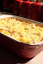 Pasta bake d photograph of a prepared on a kitchen worktop Stock Photo