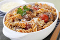 Pasta Bake with Meatballs Royalty Free Stock Photos