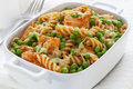 Pasta Bake with Salmon and Peas Royalty Free Stock Photo