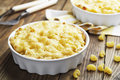 Pasta baked with cheese in a ceramic pot Royalty Free Stock Images