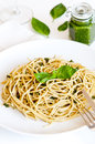Pasta with basil pesto Stock Images