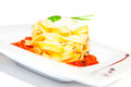 Pasta with bolognese meat tomato sauce cheese on plate restaurant menu Royalty Free Stock Image