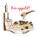 Pasta bon appetit hand drawn color illustration Royalty Free Stock Photos