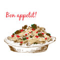 Pasta bon appetit hand drawn color illustration Stock Images