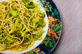 Pasta with broccoli spaghetti in a dish italian food background fabric strips diagonals Stock Images