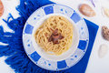 Pasta with Butter and Anchovies Stock Photography