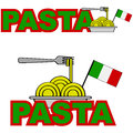 Pasta cartoon illustration showing a plate of combined with the word and a flag of italy Royalty Free Stock Photo