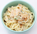 Pasta with cheese and fish Stock Photos