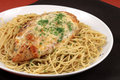 Pasta and chicken breast meal Royalty Free Stock Photo