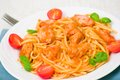 Pasta with chicken breast in tomato sauce Royalty Free Stock Photo