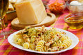 Pasta with chicken meat Stock Images