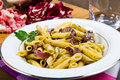 Pasta with chicory a dish Stock Photography