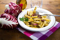 Pasta with chicory a dish Stock Image