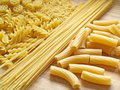 Pasta close up on wooden dask Royalty Free Stock Photos