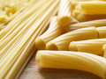 Pasta close up on wooden dask Stock Photo
