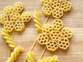 Pasta close up on wooden dask Stock Image