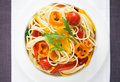 Pasta with colorful vegetables top view Stock Image