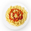 Pasta dish with tomato sauce Stock Photo