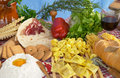 Pasta, egg, flour, biscuits, vegetables, wine Royalty Free Stock Photos