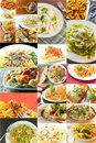 Pasta food collage popular italian dishes in imagery Stock Photography