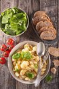 Pasta, fresh salad and bread Royalty Free Stock Photo