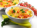 Pasta with fresh tomatoes Stock Photo