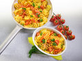 Pasta with fresh tomatoes Stock Images