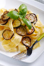 Pasta with fried zucchini traditional italian recipe Stock Image