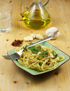 Pasta with Garlic, Oil, Chilli Royalty Free Stock Photo