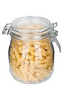 Pasta in glass jar Stock Photography