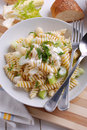 Pasta with gorgonzola cheese and fennel on the white table Stock Photo