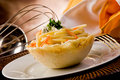 Pasta with Gorgonzola sauce inside parmesan waffle Royalty Free Stock Image