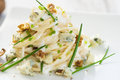 Pasta with gorgonzola on a wooden background Stock Images