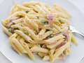 Pasta with Ham and cream Royalty Free Stock Image