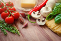 Pasta ingredients. Ingredients for cooking Italian pasta - spaghetti, tomatoes, basil, oil and garlic. Italian food. Top Royalty Free Stock Photo