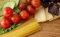 Pasta italian cuisine mediterranean food on wooden background Royalty Free Stock Photography