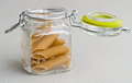 Pasta jar glass full with italian Stock Photography
