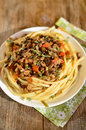 Pasta with lentil bolognese Royalty Free Stock Photo