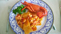Pasta and lobster Royalty Free Stock Photo