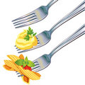 Pasta and mashed potatoes on fork Stock Images