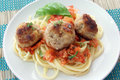 Pasta with meat balls and tomato Royalty Free Stock Image
