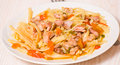 Pasta with meat on plate Royalty Free Stock Images