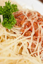 Pasta with meat sauce closeup Stock Photo