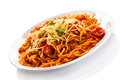 Pasta with meat tomato sauce parmesan and vegetables Stock Photography