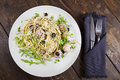 Pasta with meatballs, anchovies and olives. Royalty Free Stock Photo