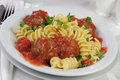 Pasta with meatballs in tomato sauce Royalty Free Stock Photo