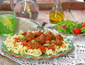 Pasta with mini meatballs with tomato sauce Royalty Free Stock Photo